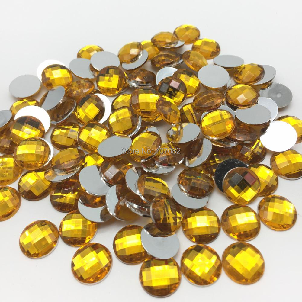 100pcs Gold 12mm Round Gems Flatbacks Resin Cabochons Christmas Crafts Embellishments Scrapbooking Cardmaking image