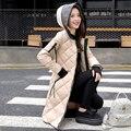 Las nuevas mujeres 80% de Pato Abajo Parka de Invierno celosía Femenino Con Capucha estilo largo abrigo prendas de vestir exteriores de LA PU de Empalme hacia abajo chaqueta a prueba de Viento caliente