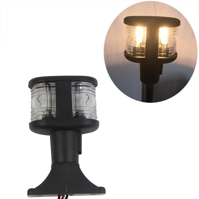 12 V barco marino todo luz redonda LED Masthead luz cálida lámpara de señal blanca con Base ajustable