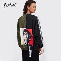 Romwe патч назад ленты подробно два тона Курточка бомбер осень 2017 г. на молнии с принтом Куртки multi Цвет короткая куртка, воротник стойка