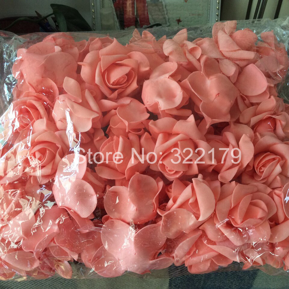 100 pcs Coral Wedding Flowers Foam Roses For Wedding Decorations ...