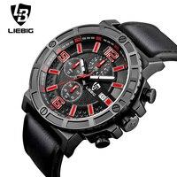 LIEBIG 1016 Luxe Mannen Sport Horloge Quartz Horloges Leger Serie Horloges Drie Tellers Kalender Waterdicht Relogio Masculino