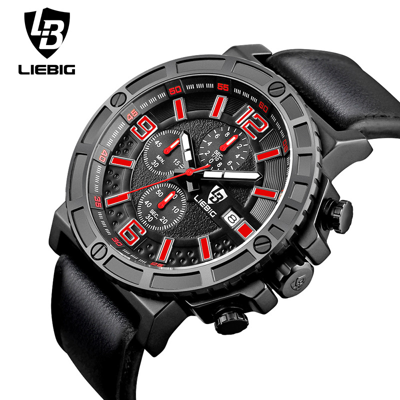 LIEBIG 1016 Luxury Men Sport Watch Quartz Wristwatches Army Series Watches Three Counters Calendar Waterproof Relogio Masculino liebig luxury brand sport men watch quartz fashion casual wristwatch military army leather band watches relogio masculino 1016