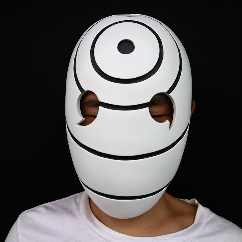 Free Shipping China Manufacture Halloween Masquerade Cosplay Party Costume White Resin Anime Masks Naruto Obito Tobi Madara Mask snap button jewelry