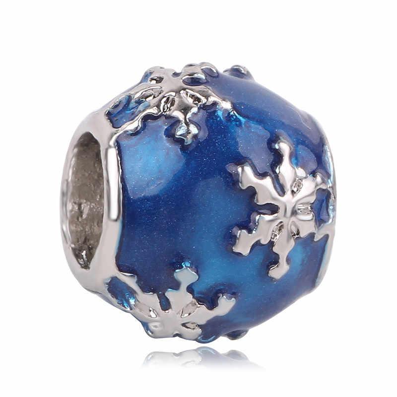 925 Xanh Bạc Ngôi Sao Phong Cách Giáng Sinh Người Tuyết Bông Tuyết Đính Hạt Phù Hợp Với Ban Đầu Pandora Đính Hạt Vòng Tay Cho Nữ Charm DIY Món Quà Trang Sức