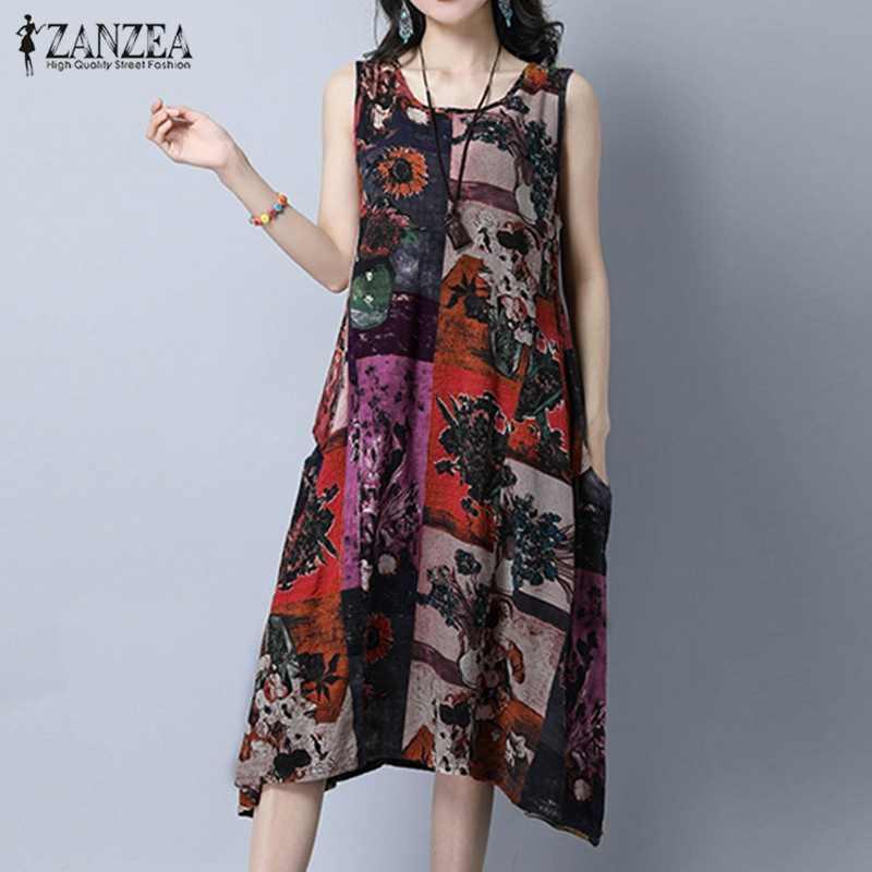 ee077840d8f0e36 ZANZEA женское платье Мода Винтаж принт платья сексуальные без рукавов  повседневные свободные с круглым вырезом Mid