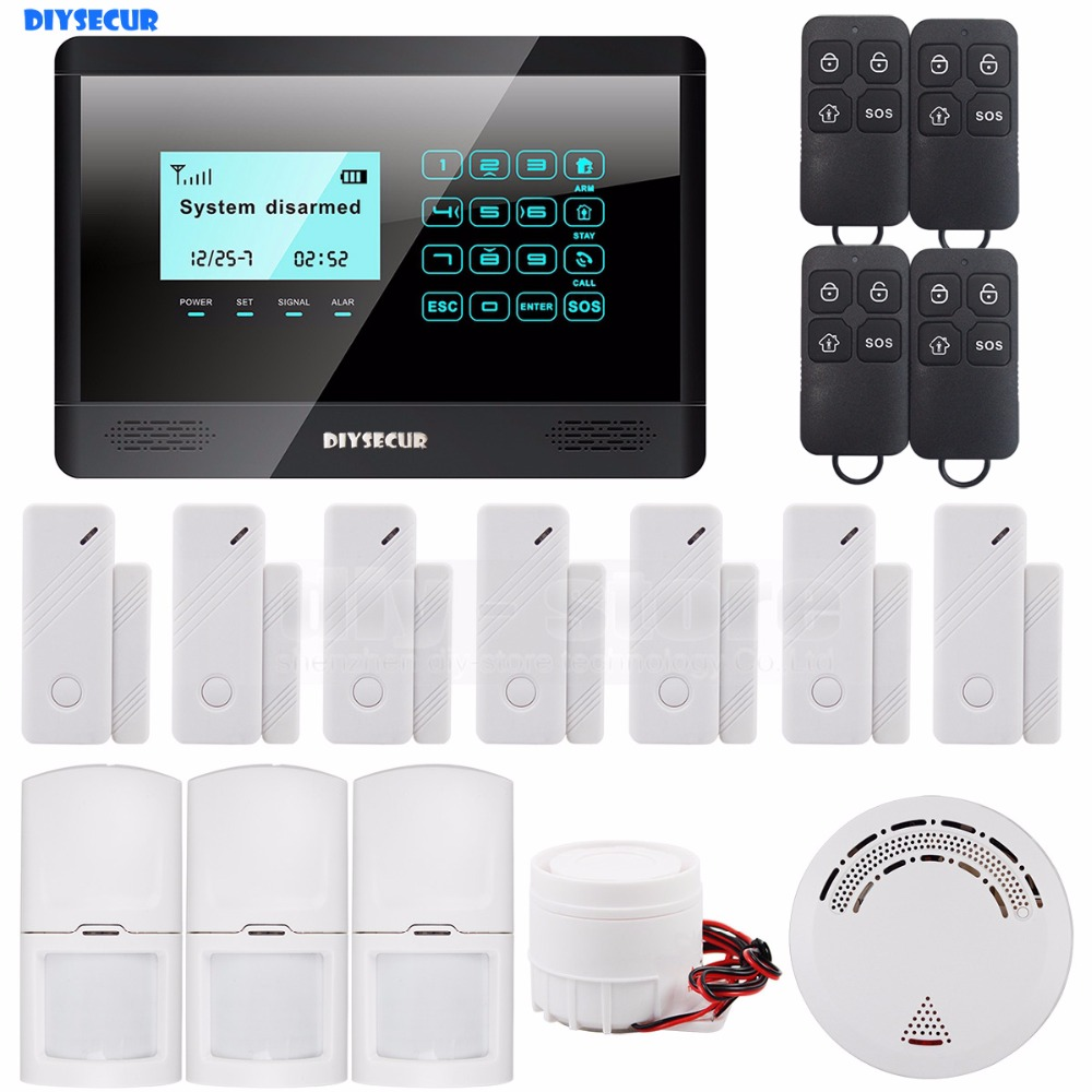 DIYSECUR Wireless GSM SMS TEXT Touch Keypad Home House Alarm System LCD Screen + Wireless Smoke Fire Sensor handheld game 3 inch touch screen lcd displays 4 way cross keypad polar system