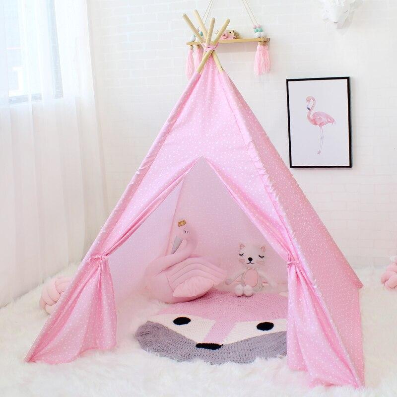 Estrella Teepee de los niños de Tipi niños juego tienda Casa de juegos para bebé niña niño juguete Príncipe princesa Castillo cuatro los polacos