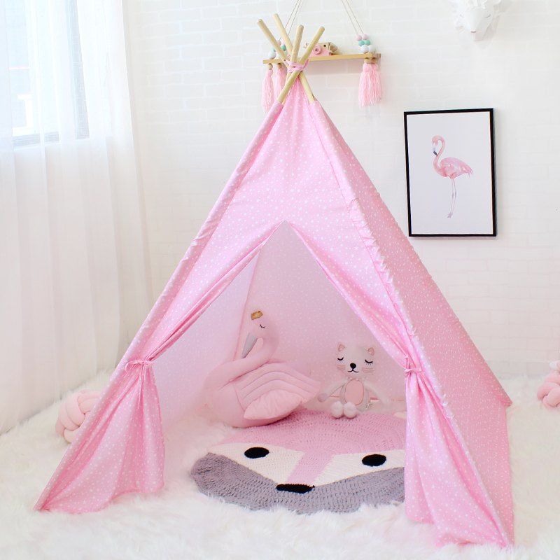 Star Kids Teepee Tent Cloth Tipi Children Game Tent Play House For Baby Girl Boy Toy Prince Princess Castle Four Poles mrpomelo four poles kids play tent 100