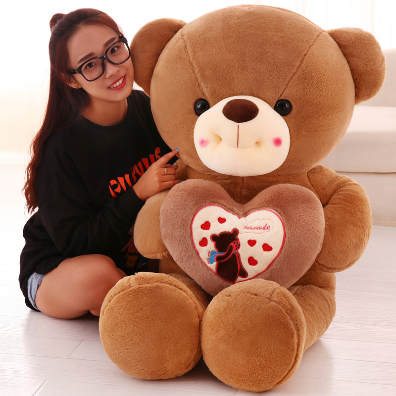 New Hold the heart bear Plush Toys Wedding Gift lovers Bear Cloth doll stuffed plush for birthday gift 1 piece light brown high quality low price stuffed plush toys large size100cm teddy bear 1m big bear doll lovers birthday gift