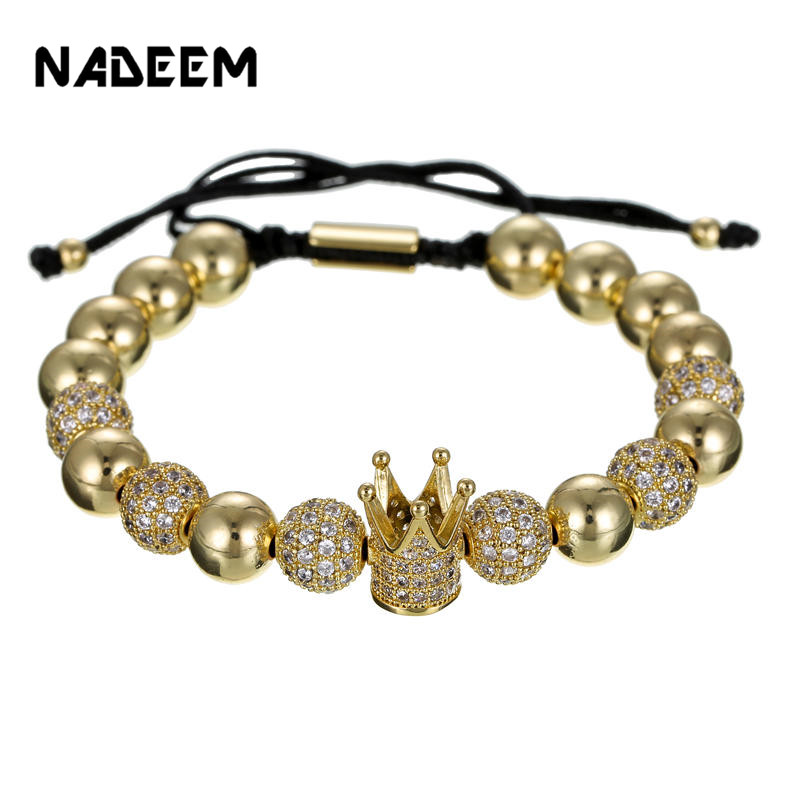 Beads & Jewelry Making Nadeem Wholesale New Luxury Micro Pave Black Cz Crown Bead For Men Bracelet Making Jewelry Diy Metal Charm Beads Jewelry Making 2019 New Fashion Style Online