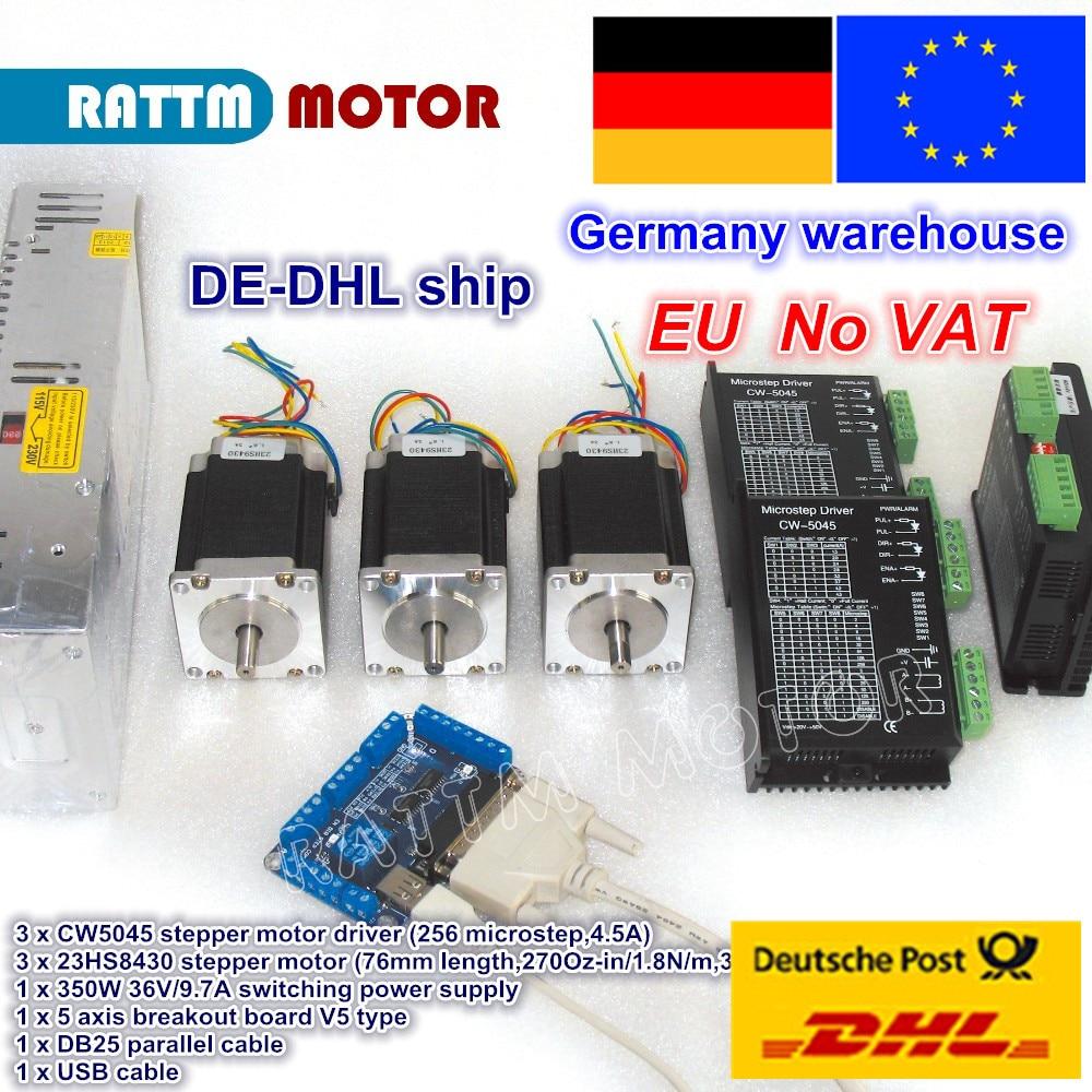 цена на DE free VAT 3 axis CNC Router controller kit 3pcs NEMA23 270oz-in 1.8N stepper motor & DC 50V driver 256 microstep 4.5A current
