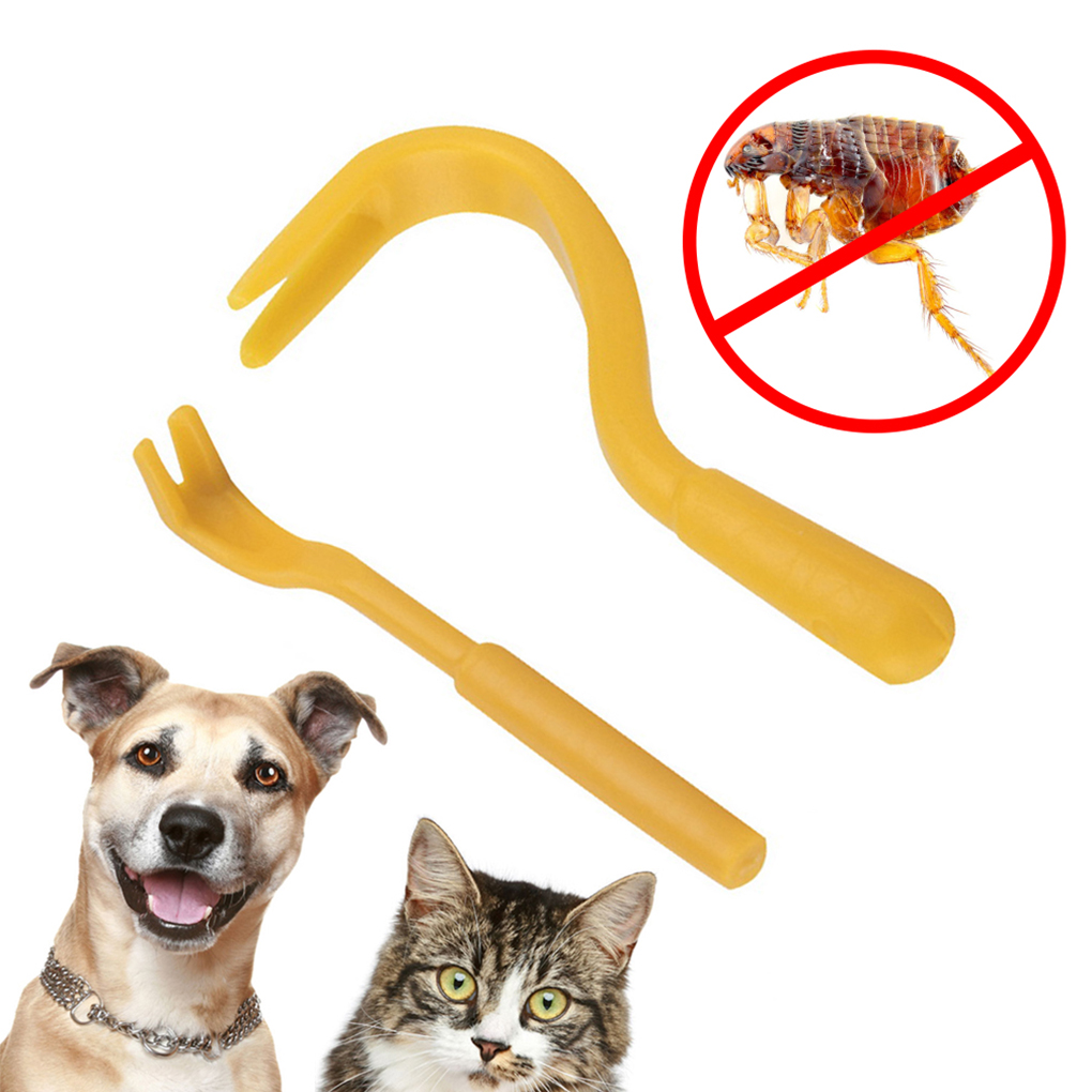 2pcs Louse Flea Scratching Remover Hook Tool Human Dog Pet Horse Cats Tick Comb ...
