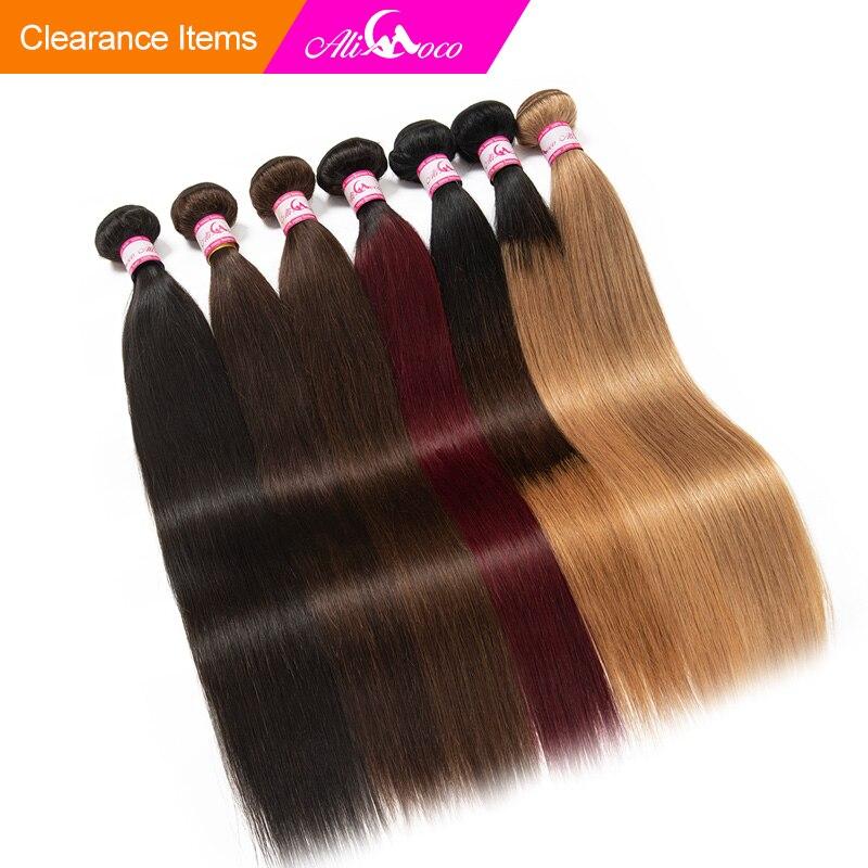"""Ali Coco cheveux raides brésiliens 1/3/4 paquets """"8-30"""" pouce #2/#4/1b/27/#27/1b/99j Non Remy Ombre cheveux 100% armure humaine faisceaux"""