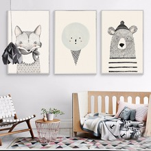 Modern Cute Cartoon Bear And Fox Animal Poster Print Canvas Picture Baby Room Home Wall Art Decoration Can Be Customized