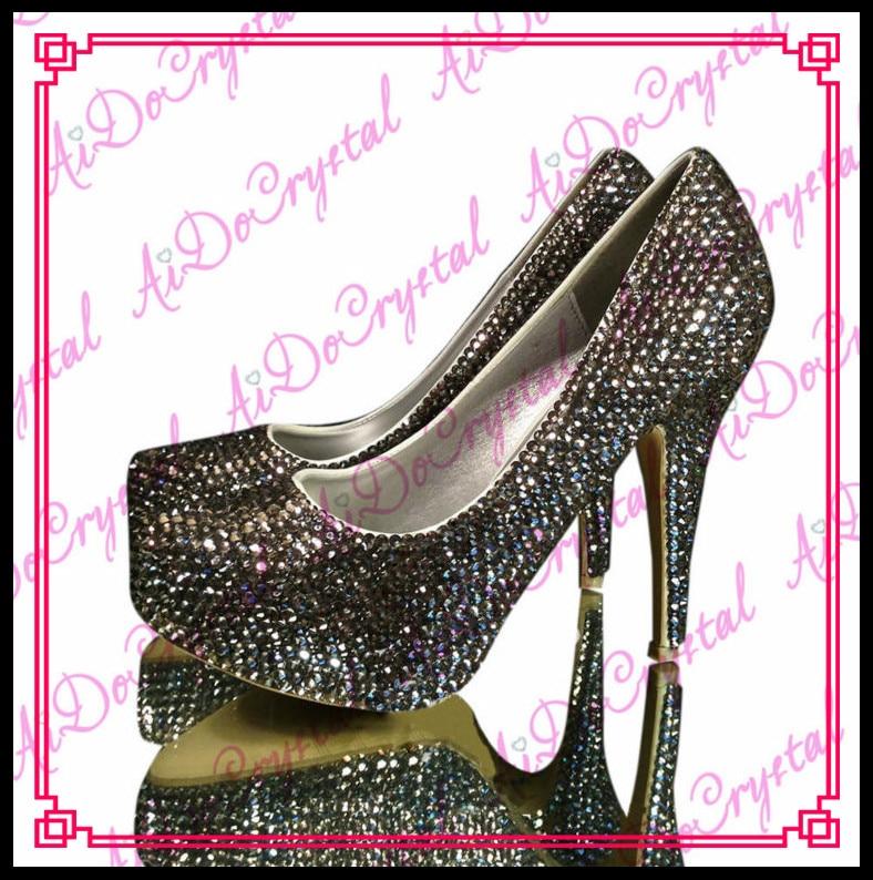 Aidocrystal handmade close toe wedding party black crystal ladies high heel  dress shoes size 36-44