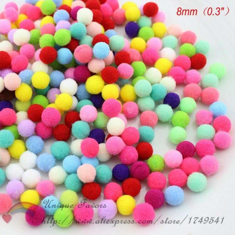 1000pcs Multi Colors Pompom Balls Fluffy Pom Poms Mini Pompons Garlands Kids Toy Ball Party Wreathes DIY Craft Home Decoration