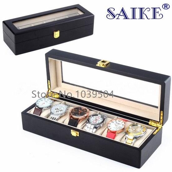 6 nyílású fa óra kijelző doboz fekete MDF óra szervező tok új óra tárolás csomagolás ékszerek ajándéktartó