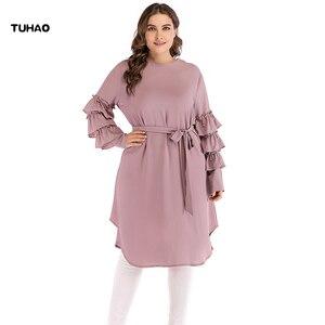 Женское платье с оборками TUHAO, элегантное офисное платье больших размеров 5XL, 4XL, с рукавами и бусинами, Осень-зима, CM80