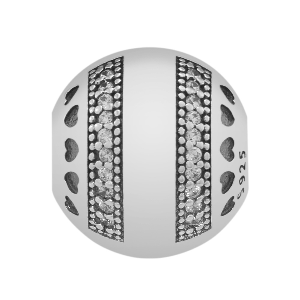 Pandulaso Logo Hearts Clip Bead With Clear CZ Fits charms silver 925 original Bracelets for women DIY Beads For Jewelry Making