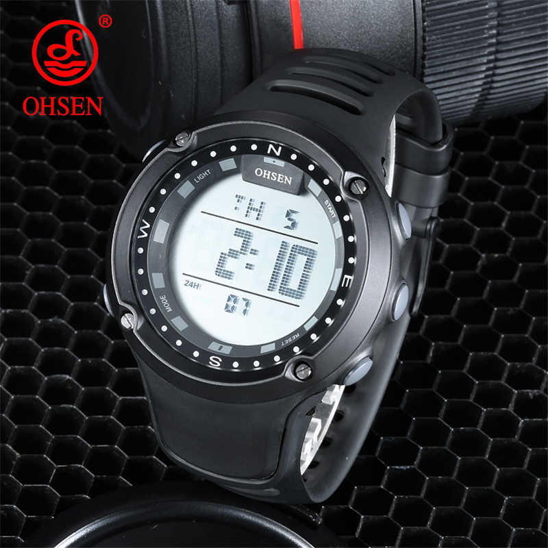 OHSEN Outdoor Sport Watch Men Alarm Clock 5Bar Waterproof Military Man Watches LED Display Shock Digital Male Watch reloj hombre