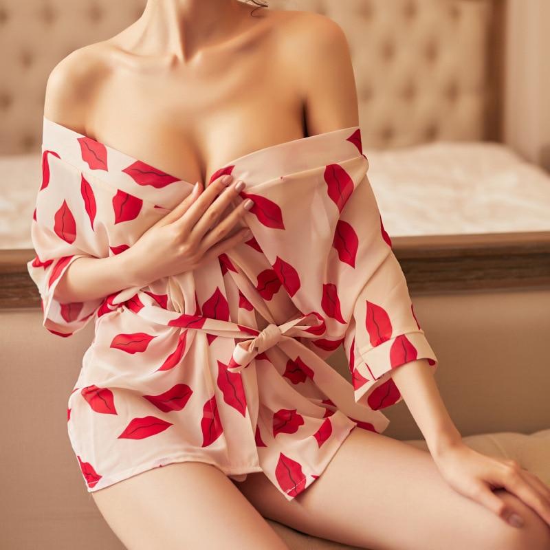 Sexy pajamas transparent chiffon sexy lips pattern silky bathrobe red white or pink purple sexy sleepwear T word underwear set in Robe Gown Sets from Underwear Sleepwears