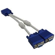 Hohe qualität 1 computer zu dual 2 monitor vga splitter kabel video Y splitter 15 pin zwei ports vga männlichen zu weiblich 30CM