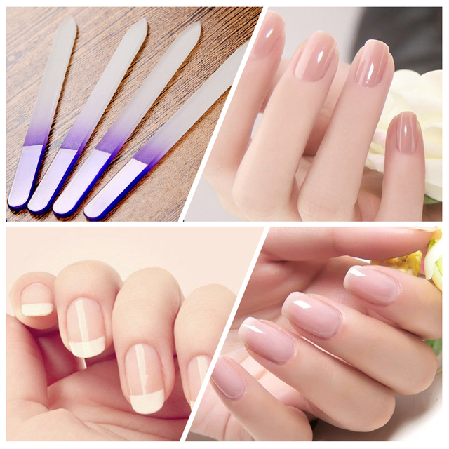 Qt Nails Files Durable Crystal Glass 4pcs File