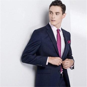 2018 Gentleman Business Men Suits Custom Made 2 Piece (Jacket+Pants+Tie) Fashion Classic Men Wedding Suit Slim Fit Blazer