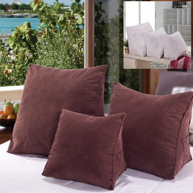 Corduroy Stereo Triangle Cushion Pillow Bed Sofa Chair Seat Back Rest  Support With Pocket Kussens Woondecoratie