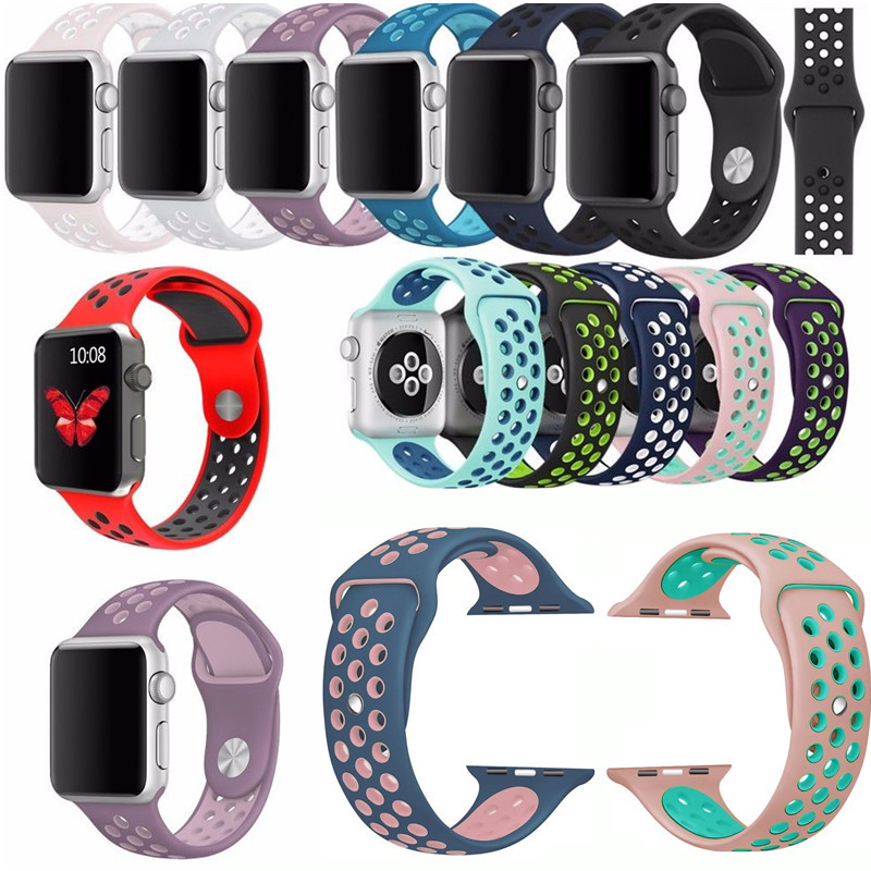 Soft Silicone Bracelet Sport Style Replacement Strap For Apple Watch Series 1 2 38mm 42mm Band For iWatch Nike+ Wrist Strap apple watch band 38mm 42mm secbolt metal replacement wristband sport strap for apple watch nike series 3 series 2 series 1