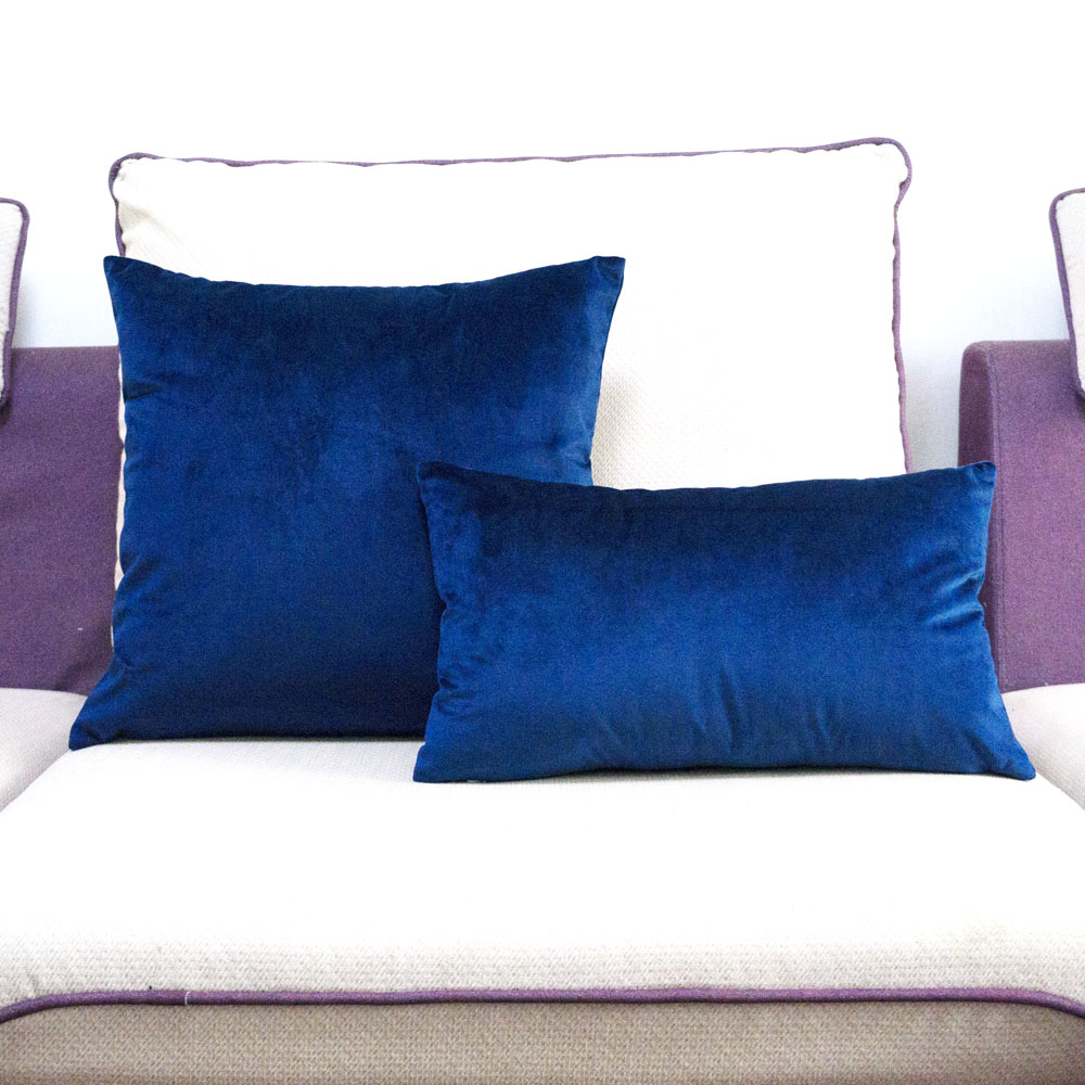 High Quality Soft Sapphire Blue Velvet Pillow Case Cushion Cover Dark Blue Pillow Cover No Balling-up Without Stuffing