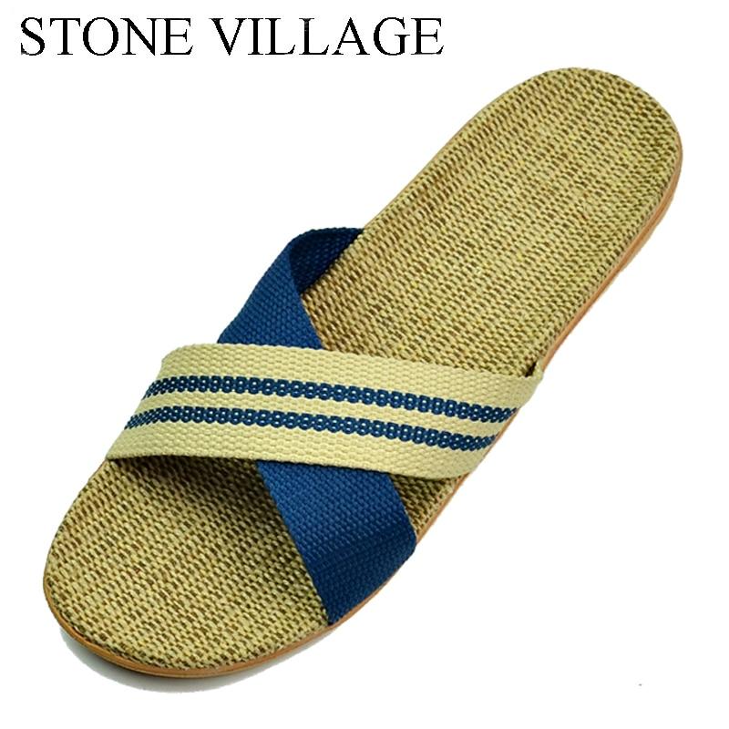 все цены на STONE VILLAGE 2018 Summer Slippers Home shoes Linen Slippers Summer Hemp Women Men Slippers Floor Indoor Home Slipper EU35-44