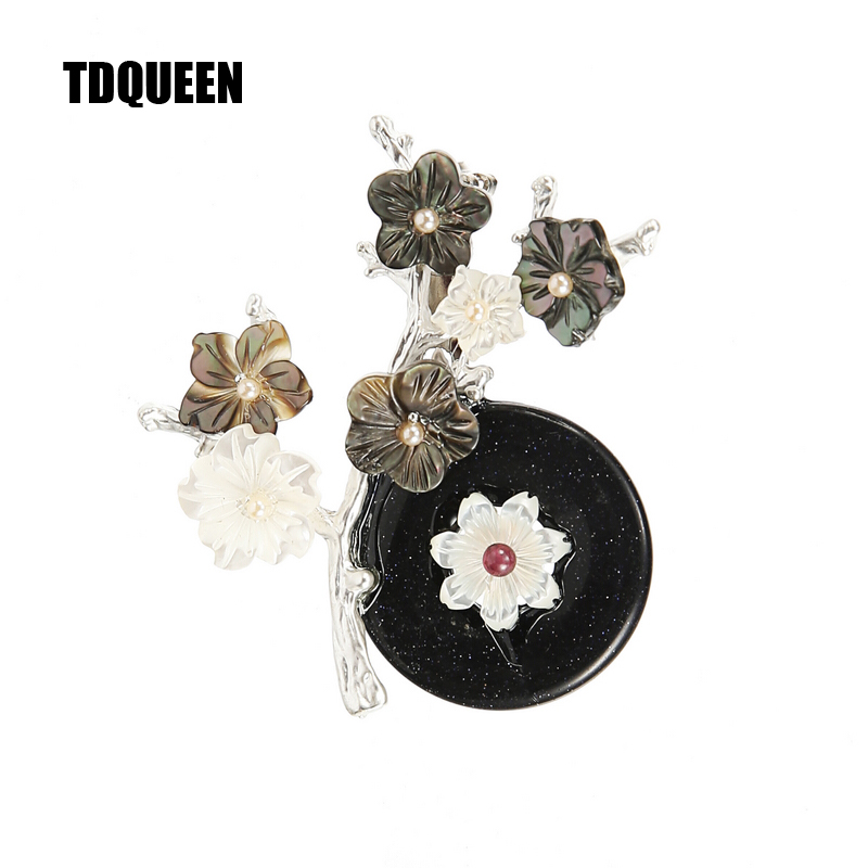 TDQUEEN Brooches For Women Natural Shell and Stone Pins and Brooches Top Quality New Brand Style Elegant Large brooches Jewelry