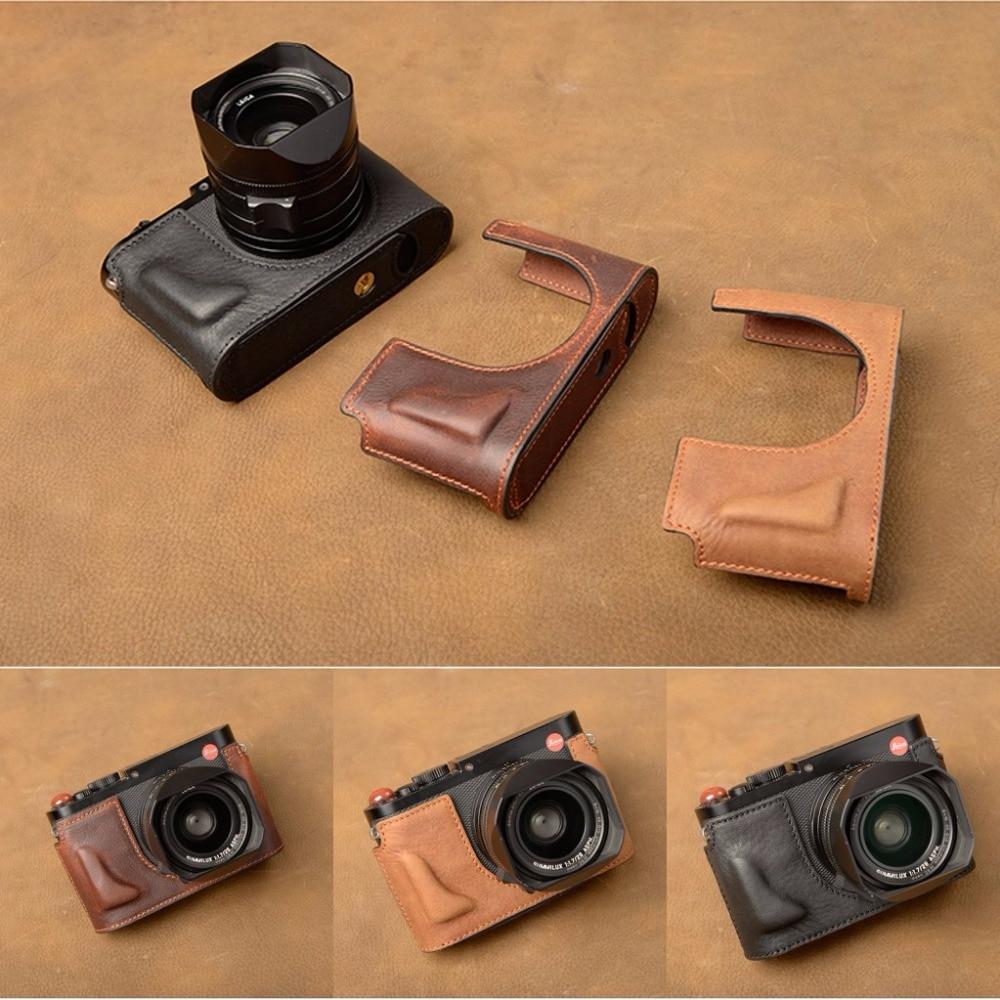 AYdgcam Brand Genuine Leather Camera case Half Body For Leica Q Tye116 Handmade Camera Bag Bottom Cover Handle Vintage Case [vr] brand handmade genuine leather camera case for sony a7ii a7 mark 2 a7r2 a7r ii camera bag half cover handle vintage case