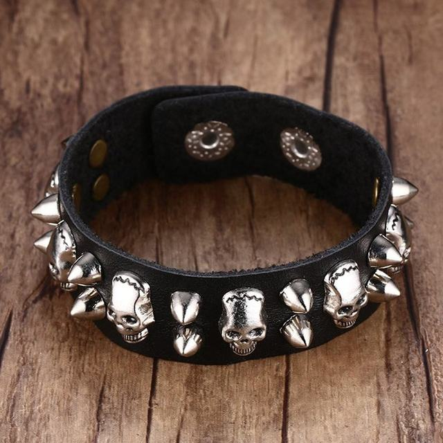 Men S Metallic Skull Spike Leather Cuff Bracelet For Belt Style Bangle Ajule Black Bike