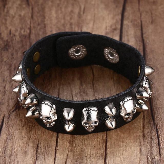 Men's Metallic Skull Spike Punk Rock Leather Cuff Bracelet for Men Belt  Style Bangle Ajustable Black