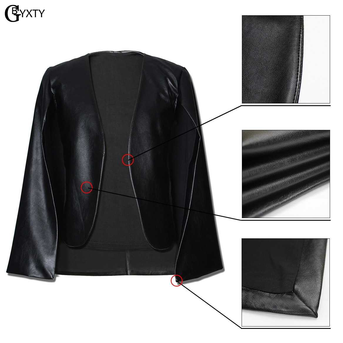 GBYXTY Ladies Blazers feminino Faux Leather PU Black Blazer Jacket Women Long Sleeve Short Blazer Coat Cloak bleiser mujer ZA104