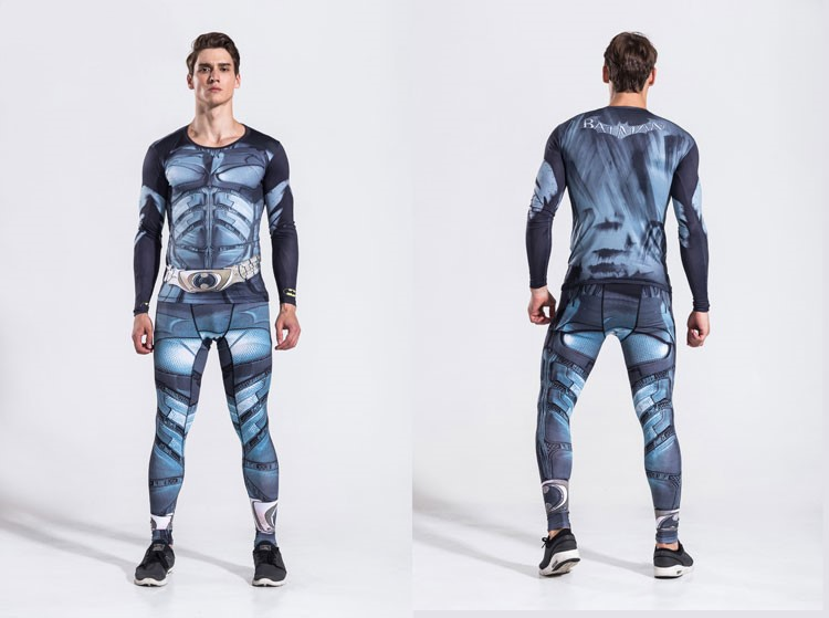 Super Hero Cosplay BatMan Fitness Suit Long Sleeve Set  Cosplay Costume Fashion Figure Suit Drop Ship