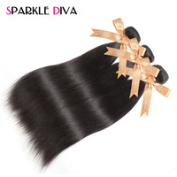 SPARKLE DIVA HAIR Straight Peruvian Hair Weave Bundles Remy Human Hair Extensions 10 28 Double