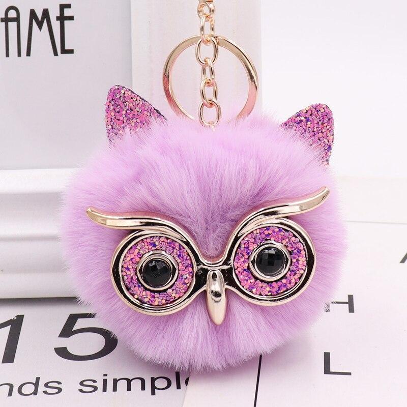 Fox Owl Ear Bag Car Pendant Ball Keychain Charm Fluffy Pompom Key Chain Animal Glasses Handbag Key Chains Fashion Accesories(China)