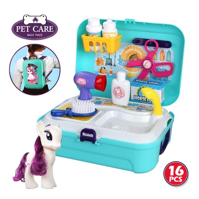 Baby Miniature Kids Plastic Pretend Play Mini Bathroom Tools Toy Set