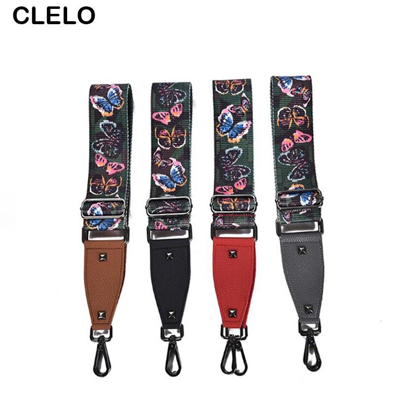 CLELO 2017 Women Straps For Your Handbags Shoulder Crossbody Bags Belt Nation Wind Print 22 Colors Bag Accessories Strap Belts