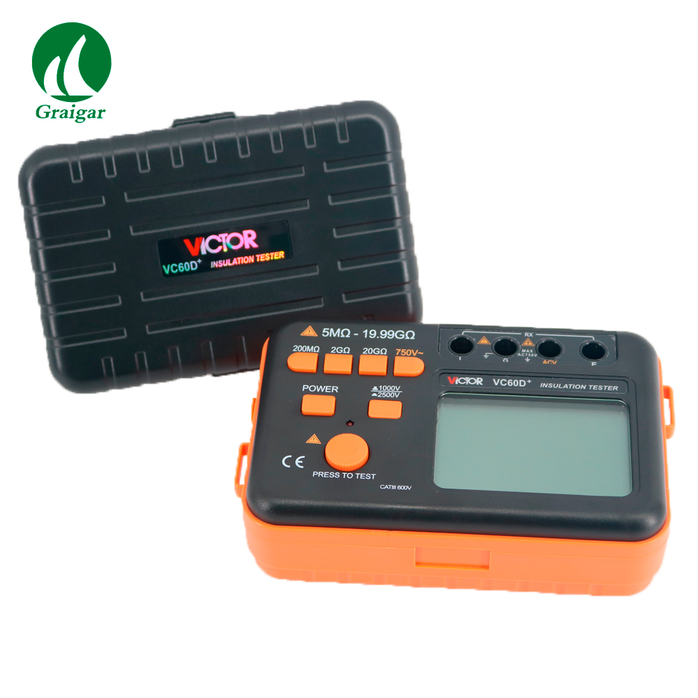 Victor VC60D+ New Digital Insulation Tester Meter Megger MegOhm Resistance Meter digital insulation tester megger megohm meter ar907a