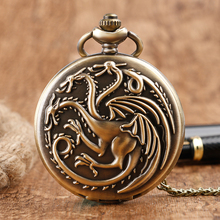 Steampunk Game of Thrones House Targaryen Quartz Pocket Watch Awesome Dragon Fire and Blood Man Women Necklace Pendant Clock(China)