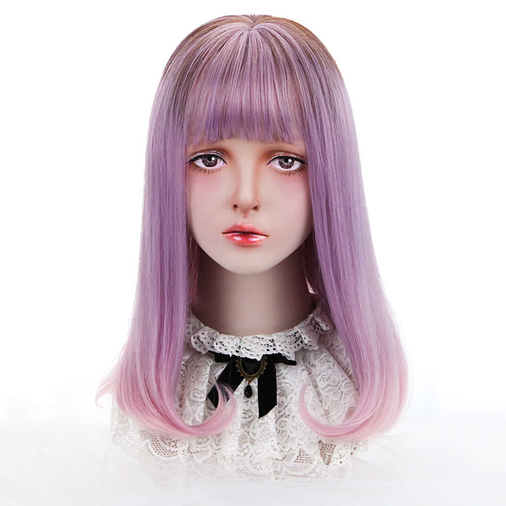 Long Straight Lolita Wig with Bangs Anime Cosplay Wigs Synthetic Hair Ombre Purple Pink 18'' Party Wigs for Women OEM