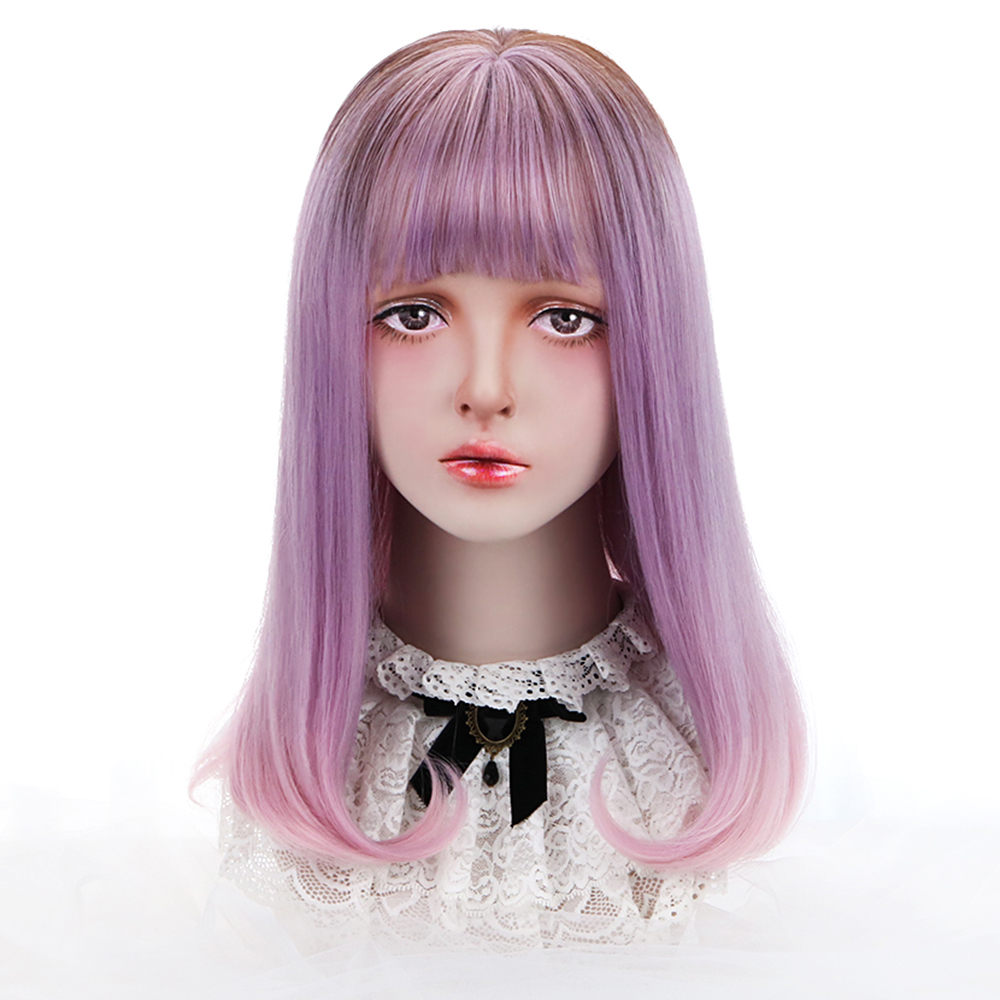 Long Straight Lolita Wig With Bangs Anime Cosplay Wigs Synthetic Hair Ombre Purple Pink 18'' Party Wigs For Women OEM HP-L-001B