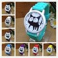 Novo 2015 moda genebra bonito do gato dos desenhos animados ocasional relógio de quartzo mulheres Silicone relógios Relogio vestido relógios de pulso Mint relógio verde