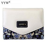 Fashion Floral Women S Purse PU Leather Black Wallet Women Snap Fastener Envelope Bag Lady Short