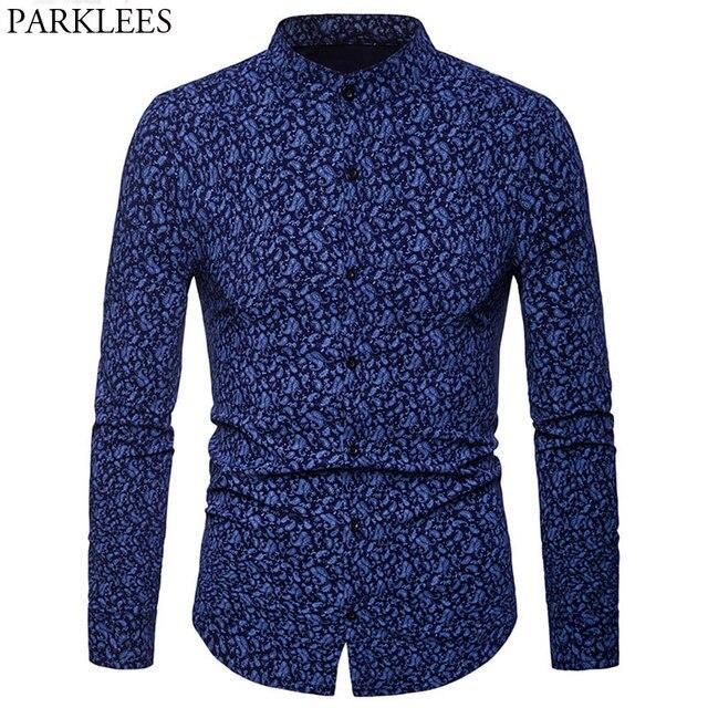 8e76bc8db56 Blue Paisley Shirt Men Camisa Masculina Floral 2018 Brand New Mandarin  Collar Mens Dress Shirts Casual Slim Fit Chemise Homme